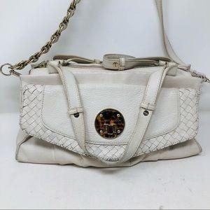 Elliot Luca White Leather Convertible Shoulder Bag